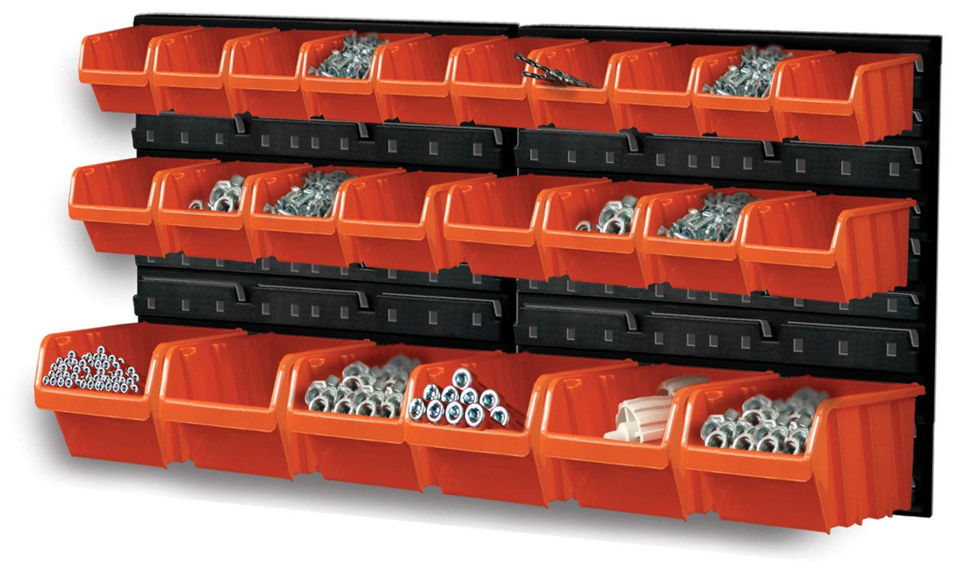 Závěsná plastová stěna, držák s 24 boxy