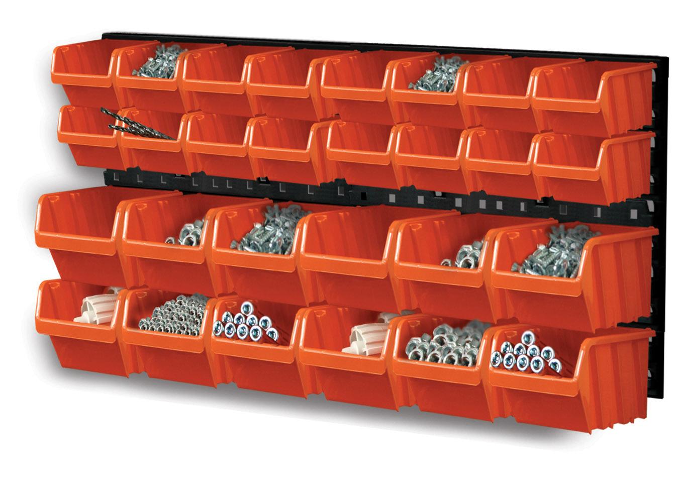 Závěsná plastová stěna, držák s 28 boxy
