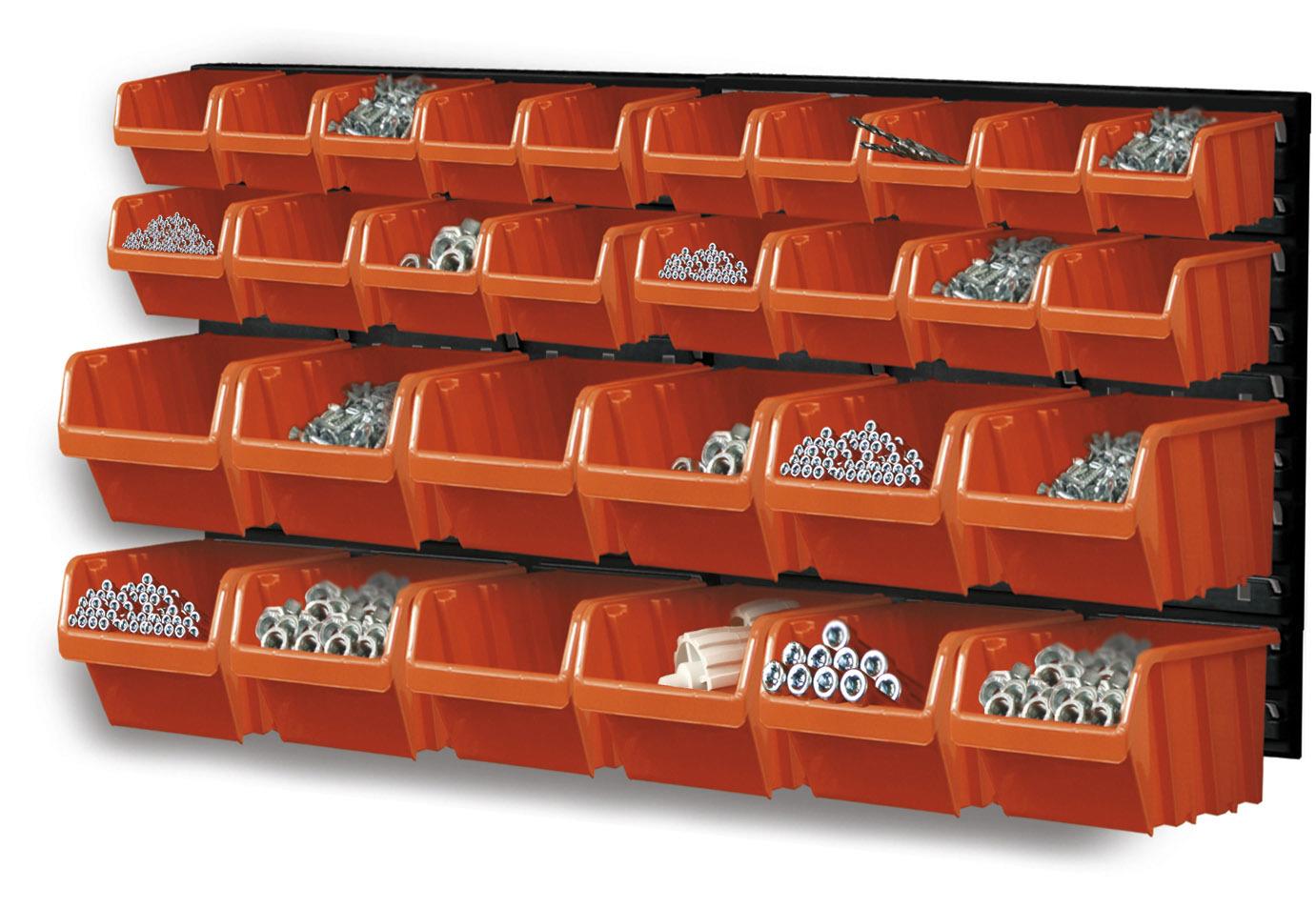 Závěsná plastová stěna, držák s 30 boxy