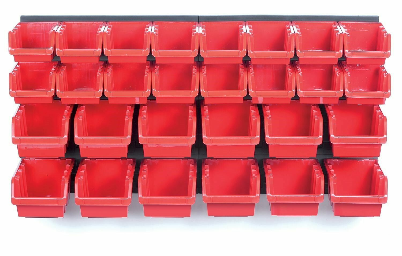 Závěsná stěna, držák s 28 boxy, 800x165x400 mm, plast - ORDERLINE