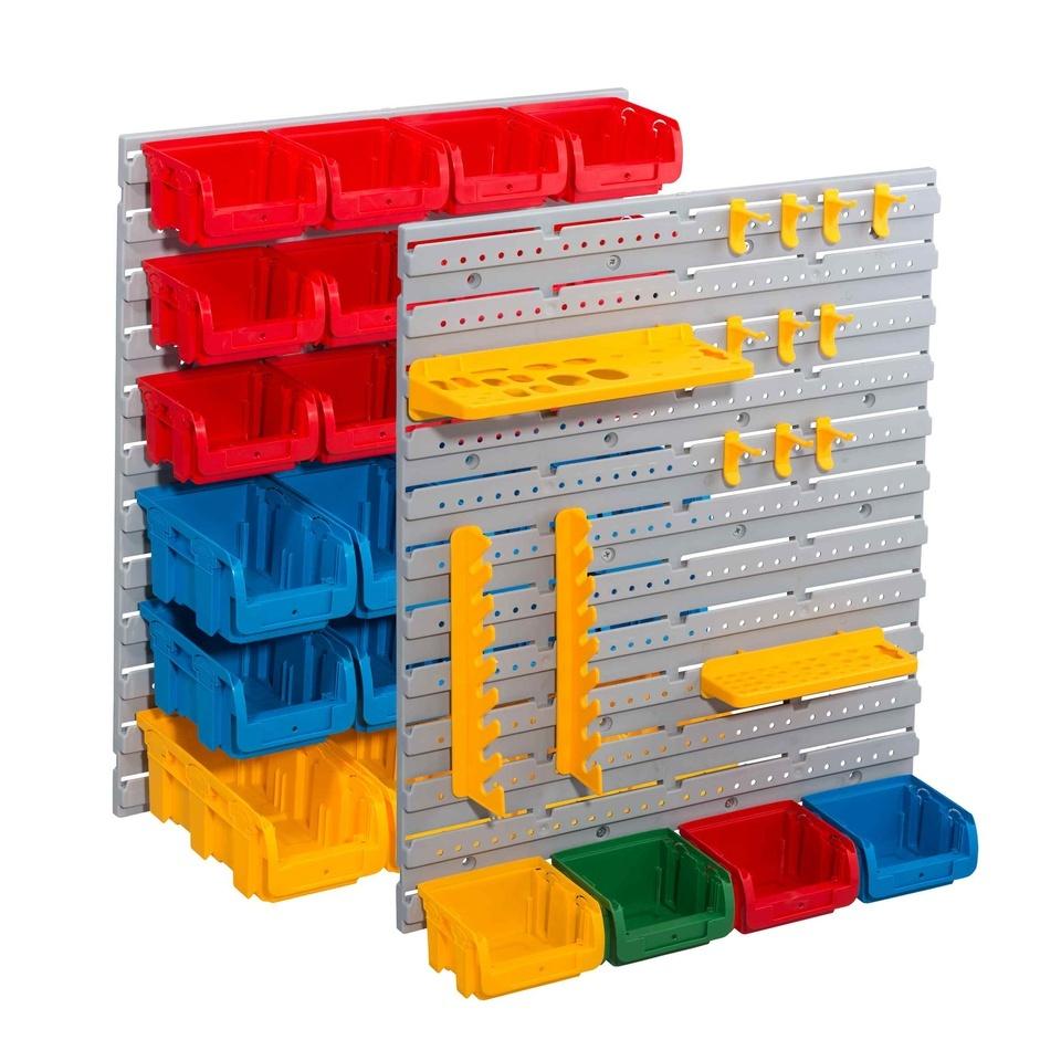 Závěsné stěny plastové, s držáky a boxy, sada 43 kusů Allit StorePlus Set P 43