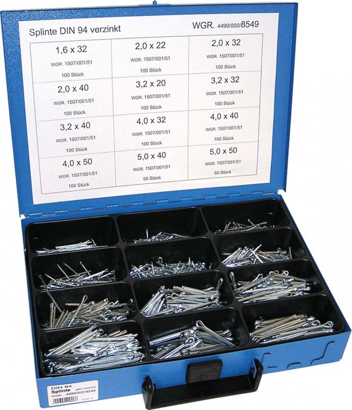 Závlačky DIN 94 1.6x32-5.0x50 mm, pozinkované, sada 1100 ks v kufru